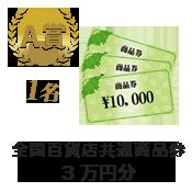 A賞 全国百貨店共通商品券3万円分 1名